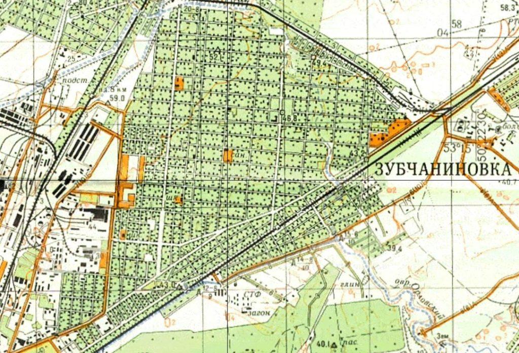 Карта 1970 г. Геншатаба - Зубчаниновка. 1:50.000