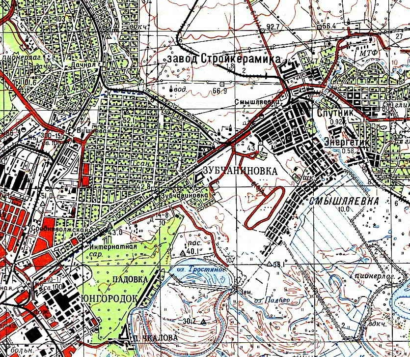 Зубчаниновка на карте 1981 г.