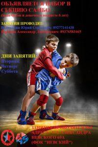 Афиша секции самбо в Зубчаниновке - осень 2017