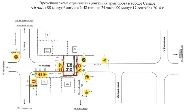 Схема движения по Цеховой - август 2018